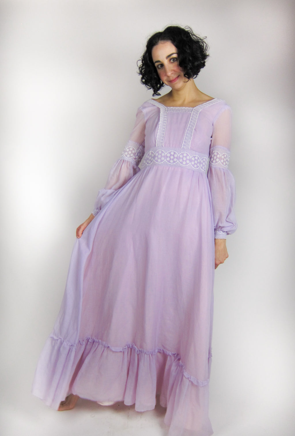 Vintage Romantic Poet Sleeve Maxi Dress