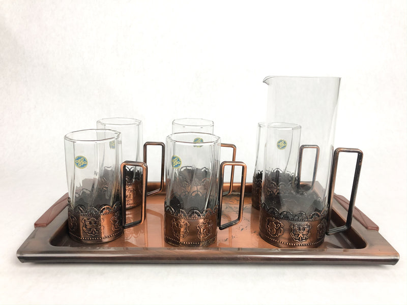 Vintage Stamped Copper Glassware Set