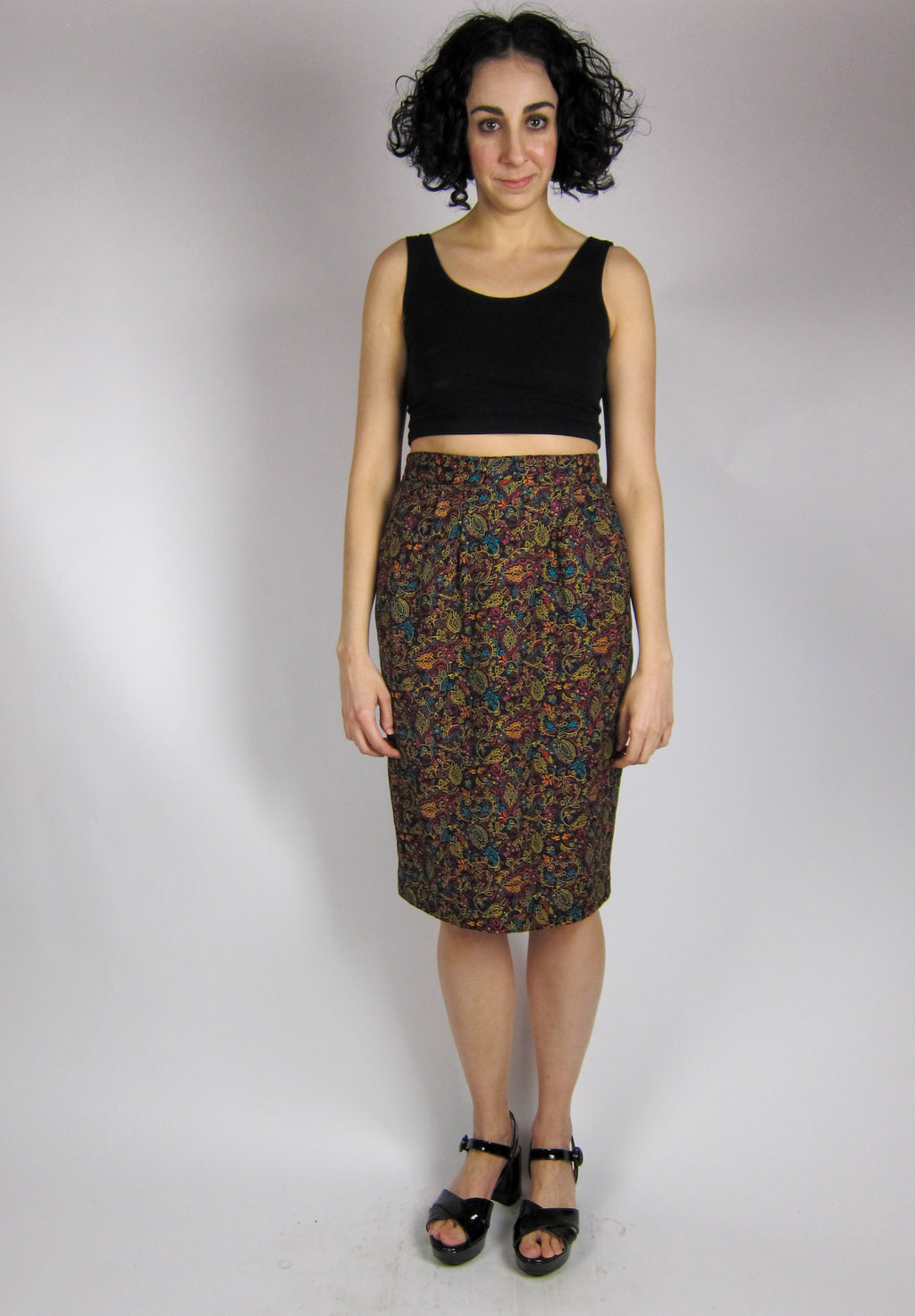 Vintage Paisley Pencil Skirt