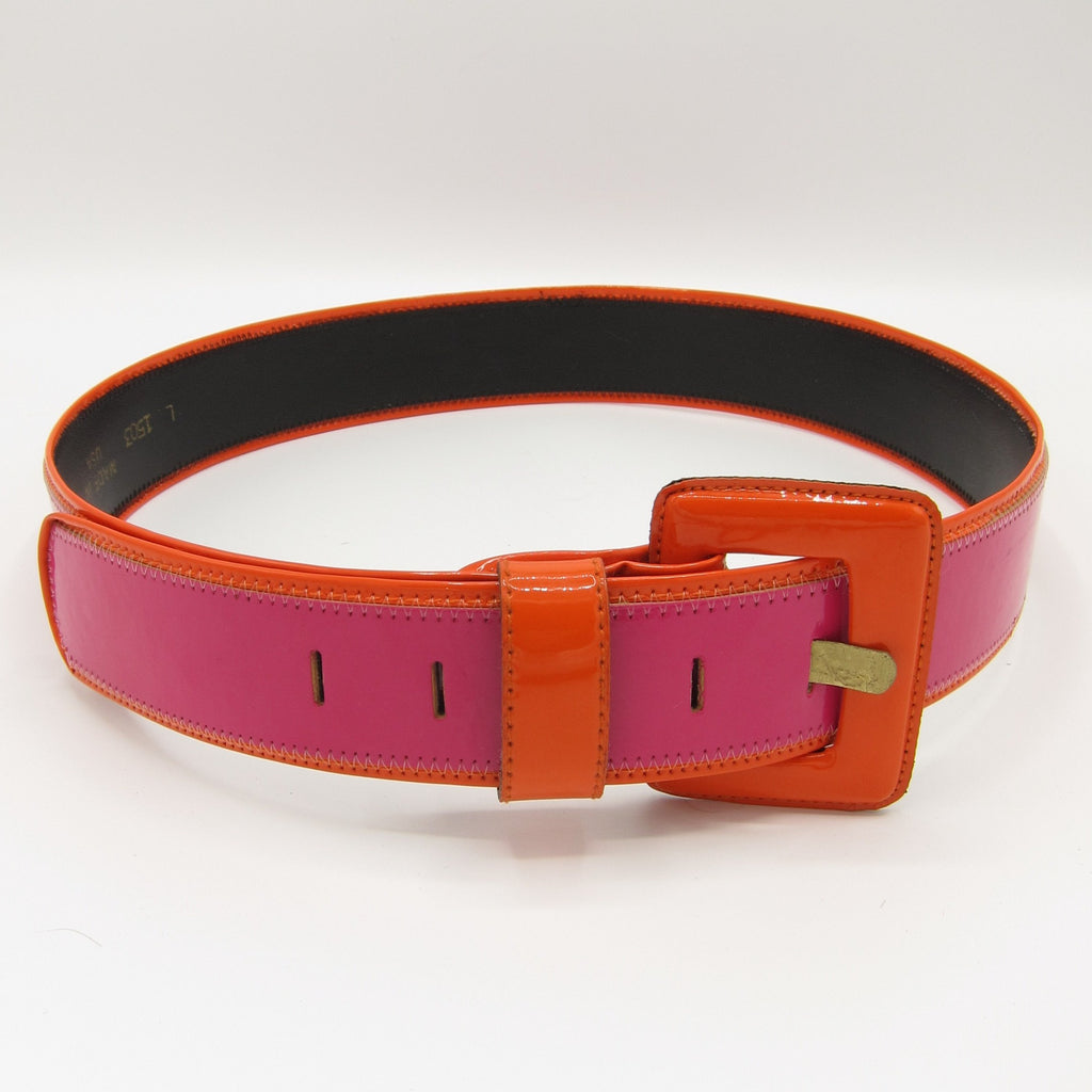 vintage fuchsia and orange patent leather belt