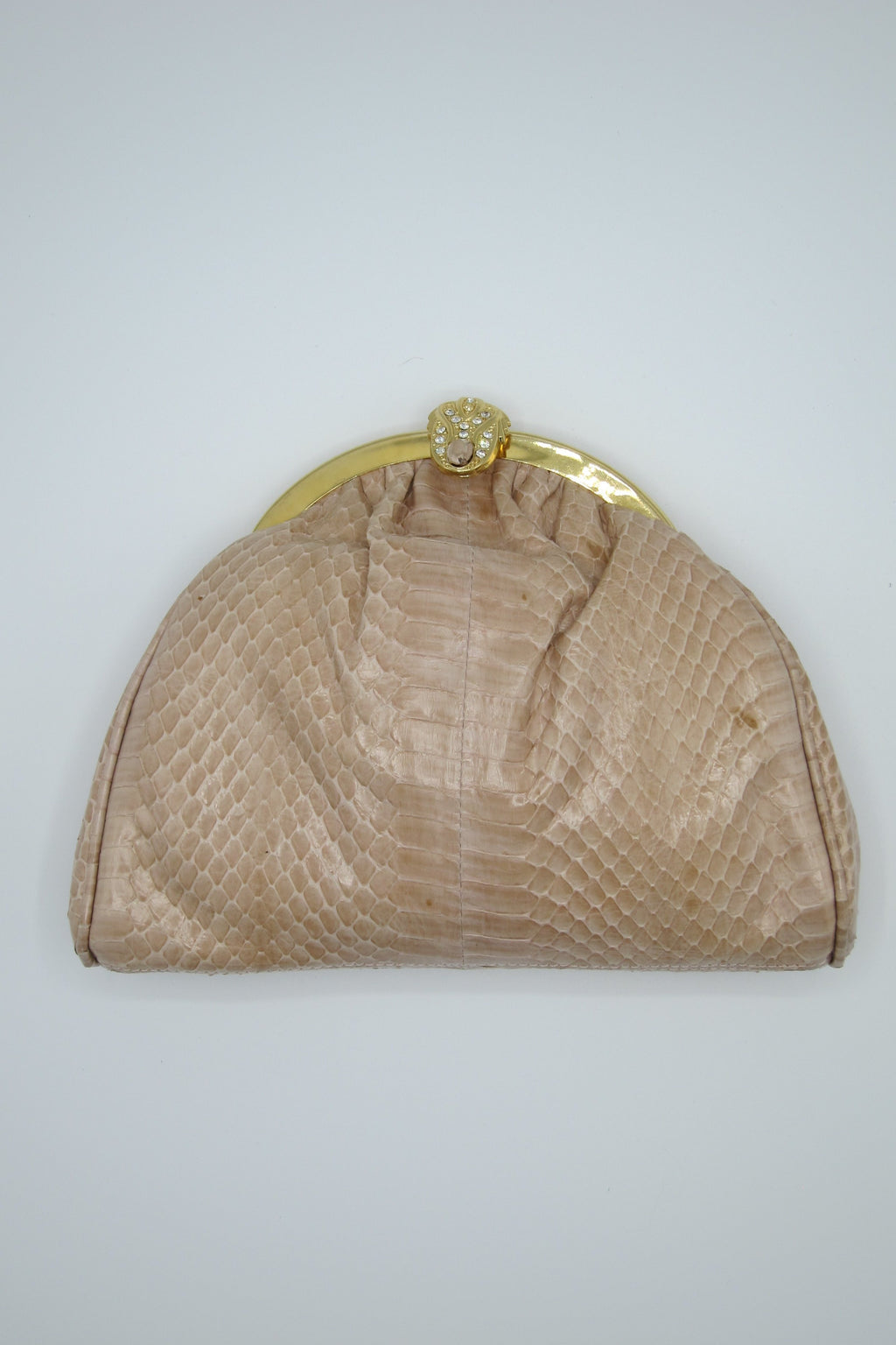 vintage nude snakeskin purse clutch gold hardware