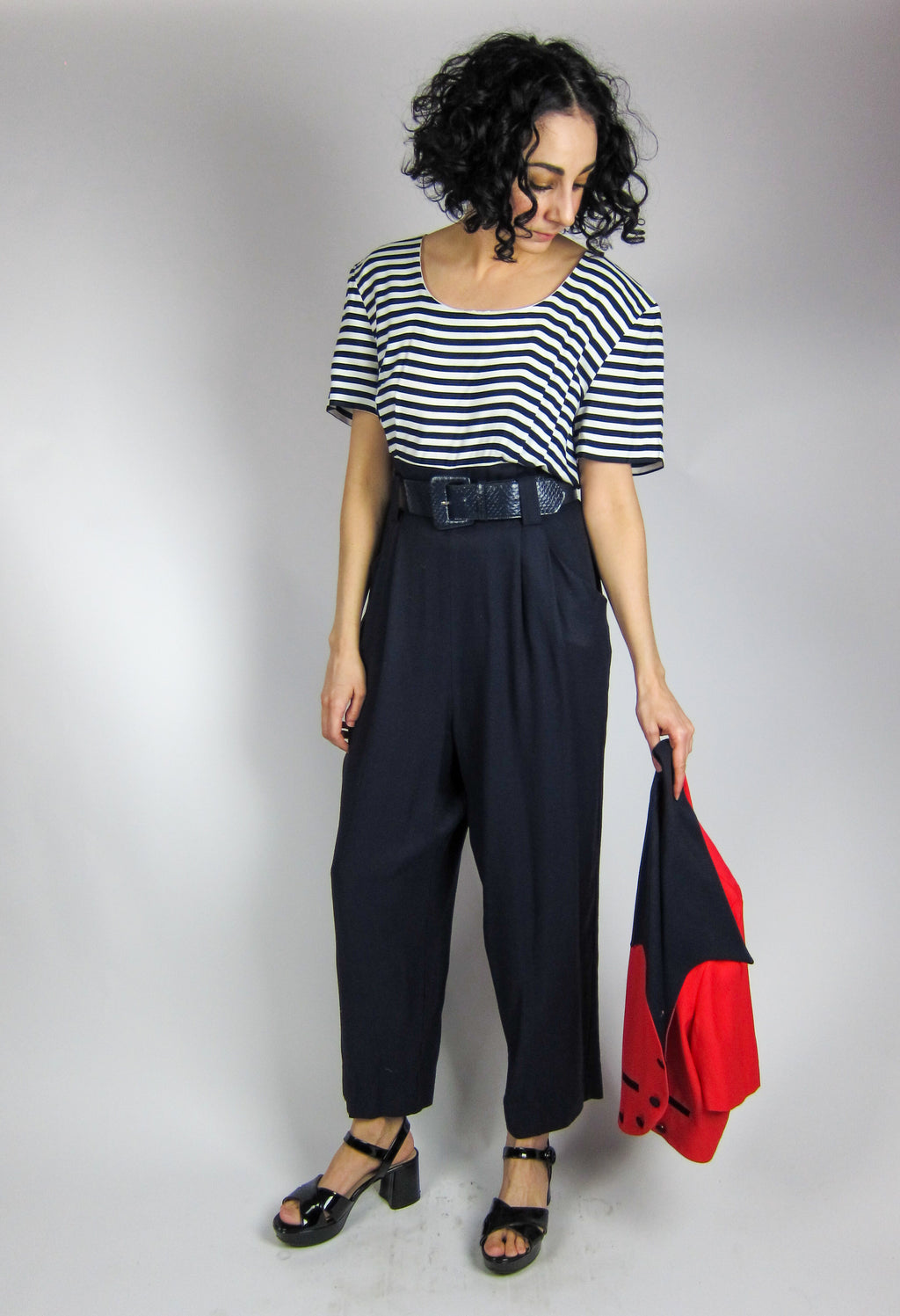 Vintage Striped Jumpsuit and Jacket Set