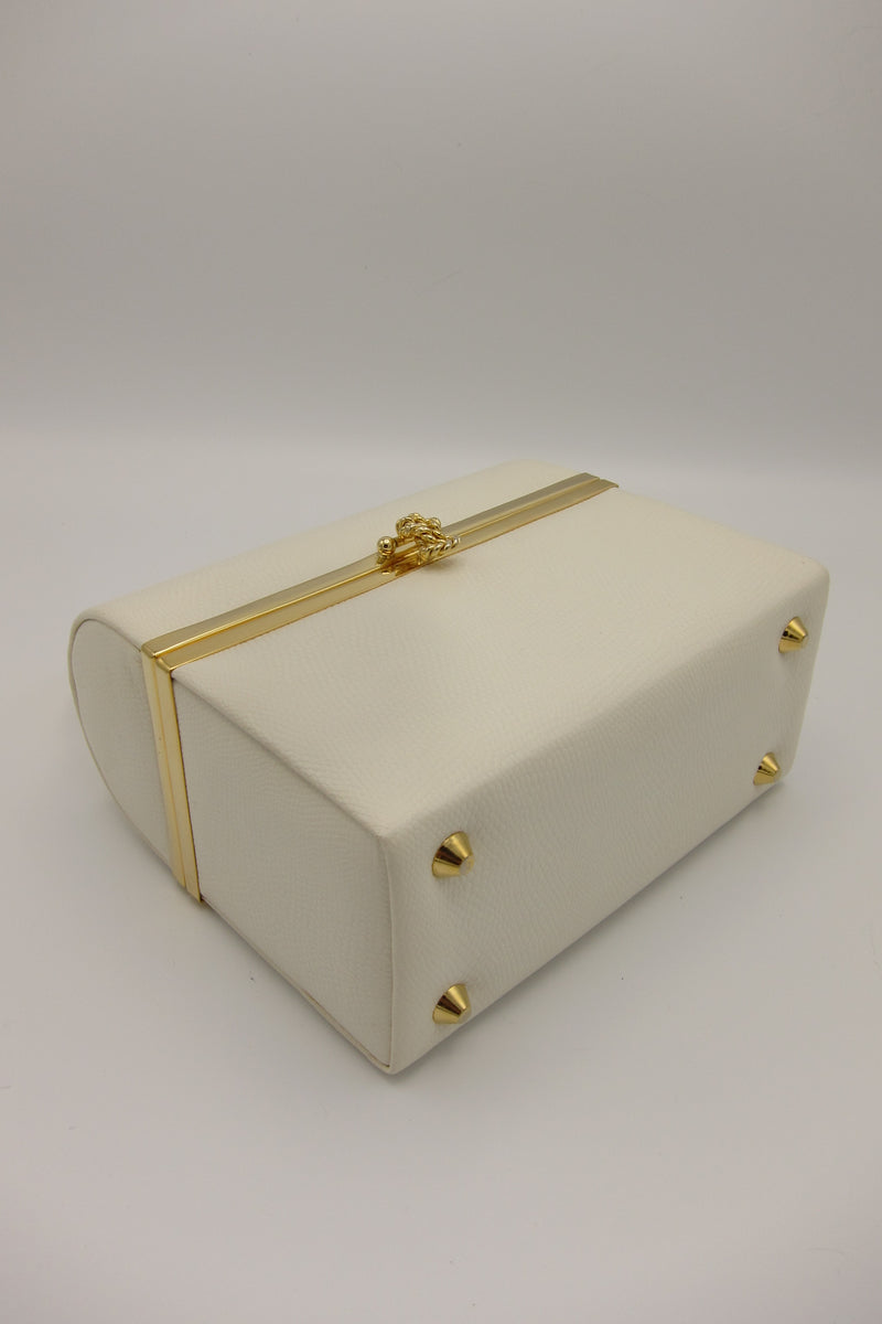 Vintage White and Gold Box Purse