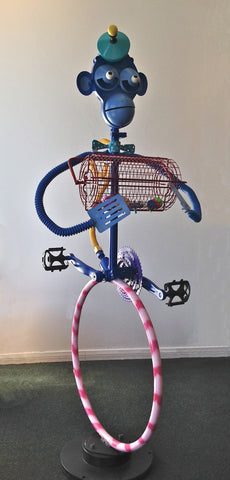 Bingo the Blue Monkey Upcycled Metal Sculpture