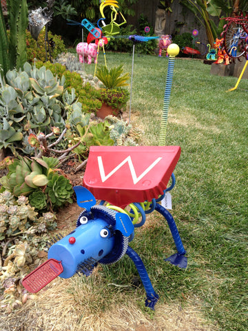 Nutro the Wonder Dog-Repurposed Metal Sculpture & Yard Art