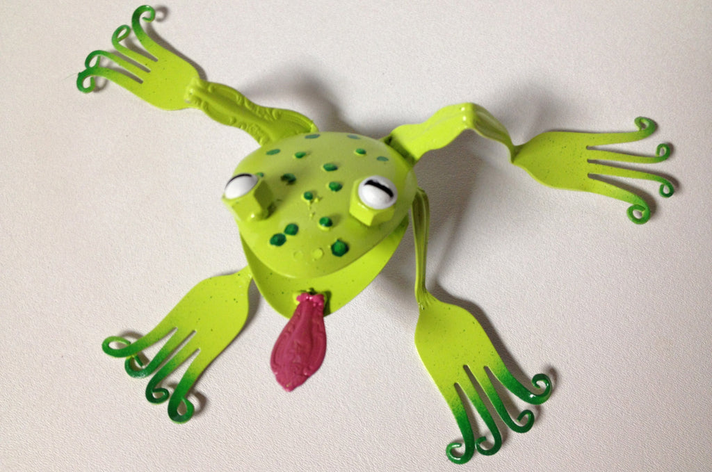 upcycled green frog sculpture made of silverware
