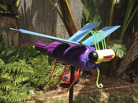 Daffodil Dragonfly Upcycled Metal Sculpture & Repurposed Yard Art