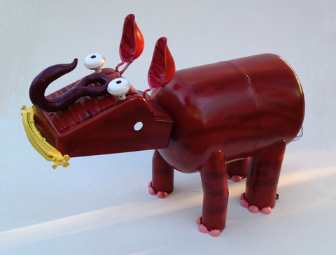 Ruby the Rhino Upcycled Metal Yard Art Sculpture