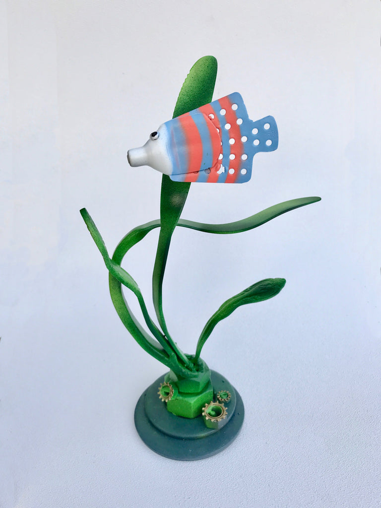 Tropical Fish Upcycled Metal Sculpture-small scale