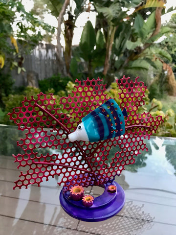 Upcycled Repurposed Coral Reef Sculpture Small Scale