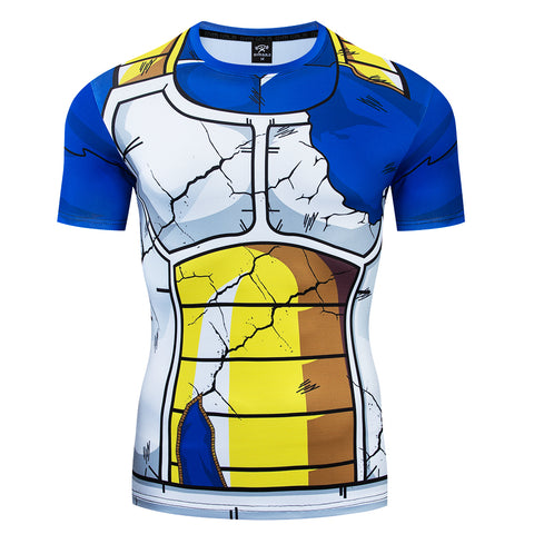 Dragon Ball Z Vegeta Damaged Battle Armor Workout Short Sleeve Shirt