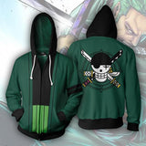 One Piece Roronoa Zoro Jolly Roger Zipper Hoodie