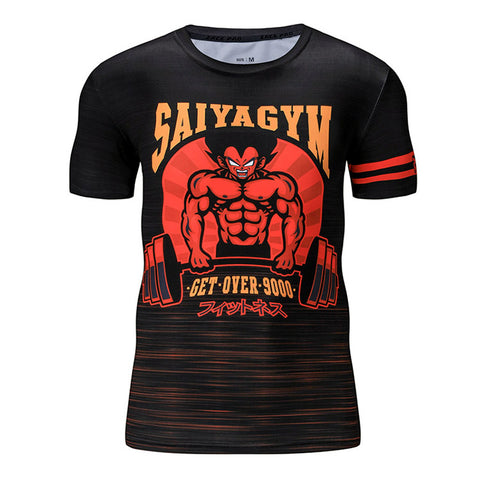 Dragon Ball Z Saiyan Gym Get Over 9000 Compression Workout T-Shirt