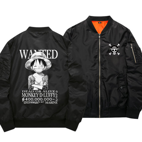 One Piece Monkey D. Luffy Wanted Black Bomber Jacket