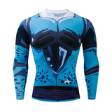Dragon Ball Z Cell Junior Blue Skin Compression Gym Long Sleeve T-Shirt