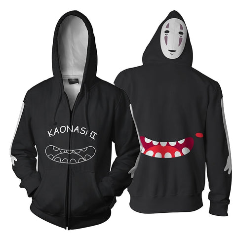 Studio Ghibli Spirited Away Kaonashi No Face Mouth Hoodie