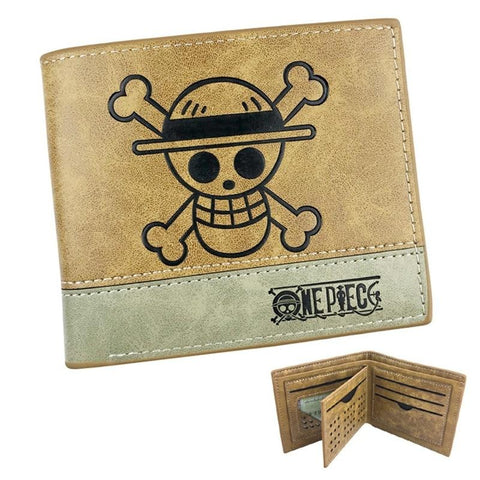One Piece Brown Jolly Roger Straw Hat Pirates Wallet