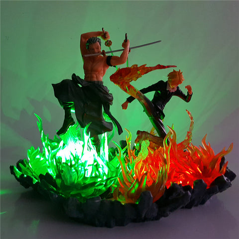 One Piece Roronoa Zoro & Vinsmoke Sanji LED Lamp Figure