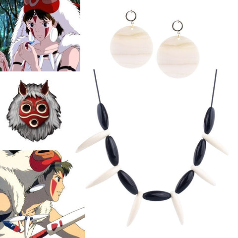 Princess Mononoke Cosplay Necklace Pendant with Earrings
