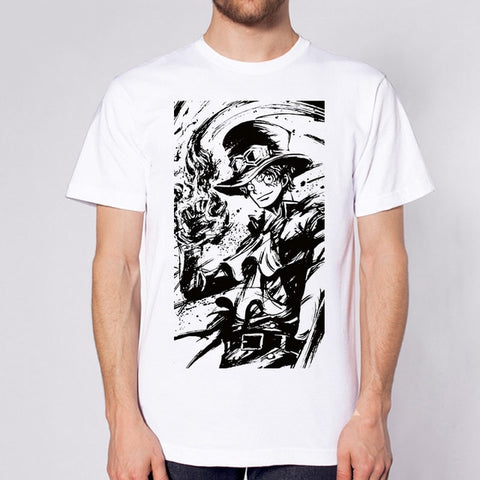 One Piece Black & White Sabo T-Shirt