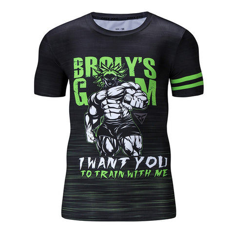 Dragon Ball Z Broly's Gym I Want You To Train With Me Compression Workout T-Shirt