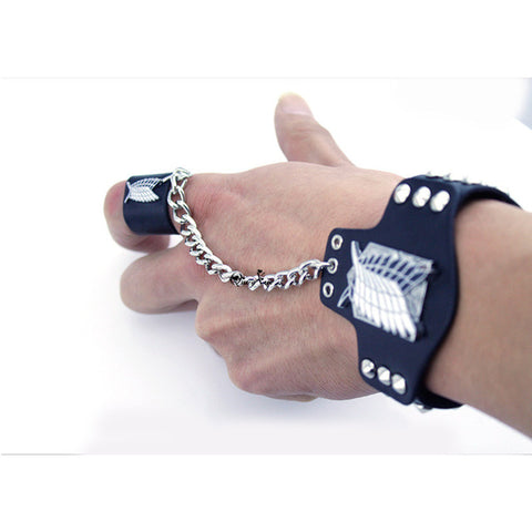 Attack on Titan Leather Bracelet with Finger Ring