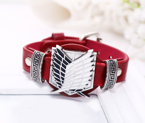 Attack on Titan Red Leather Survey Corps Bracelet