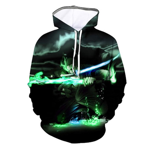 One Piece Roronoa Zoro Dark Green Hoodie