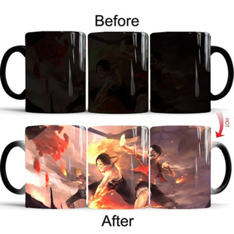 One Piece Portgas D. Ace & Monkey D. Luffy Fighting Color Changing Mug Cup