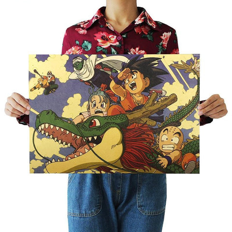 Dragon Ball Z Kid Goku, Bulma & Krillin Riding On Shenron Poster