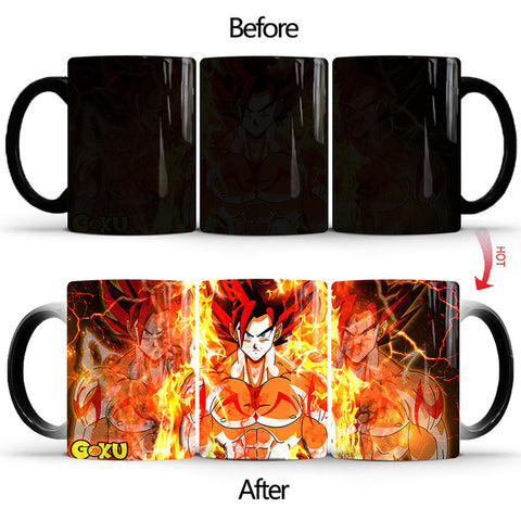 Dragon Ball Z Goku Super Saiyan Red Heat Sensitive Color Changing Mug Cup