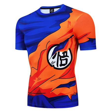 Dragon Ball Z Goku Kanji Damaged Gi Workout Fitness Shirt