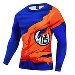 Dragon Ball Z Goku Kanji Damaged Gi Workout Long Sleeve Shirt