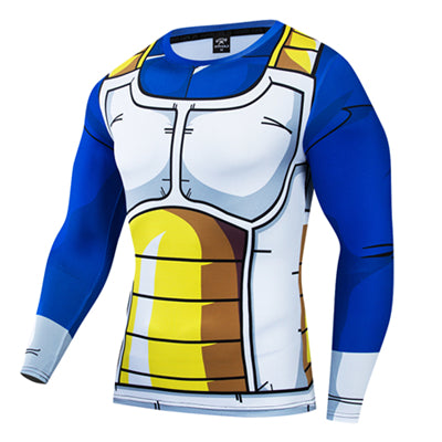 Dragon Ball Z Vegeta Battle Armor Workout Fitness Long Sleeve Shirt
