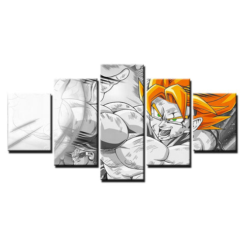 Dragon Ball Z Super Saiyan Goku Combat Mode Art Canvas