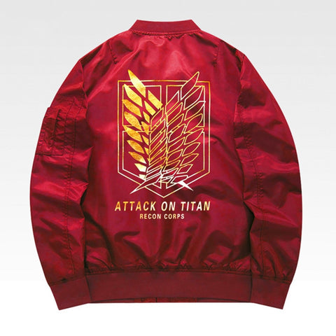 Attack On Titan Recon Corps Red Bomber Jacket
