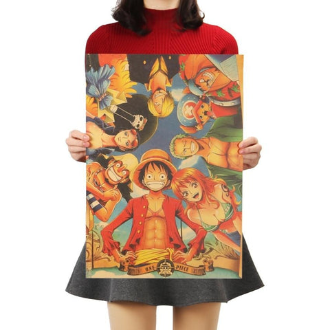 One Piece Main Characters Poster Wall Sticker