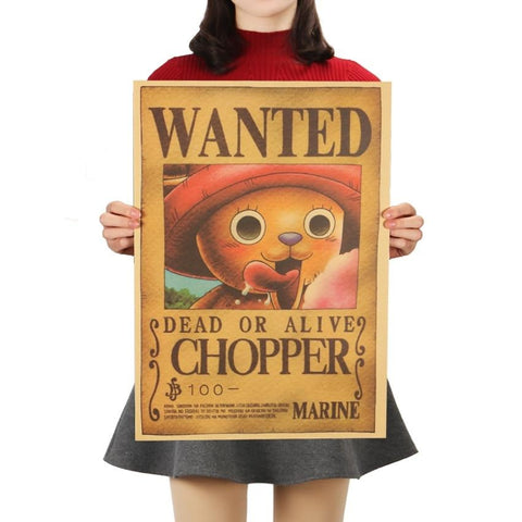 One Piece Tony Chopper Classic Wanted Dead Or Alive Poster Wall Sticker