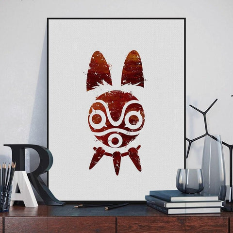 Princess Mononoke Mask Wall Poster Sticker
