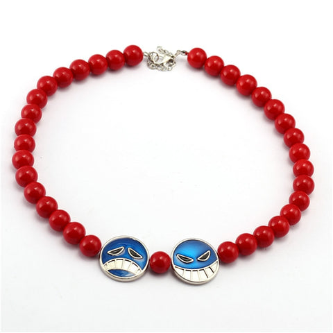 One Piece Portgas D. Ace Hat Red Beads Necklace