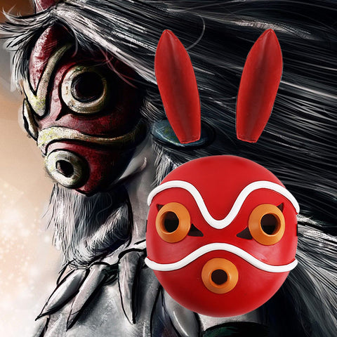 Princess Mononoke San Red Mask Cosplay Helmet With Ears