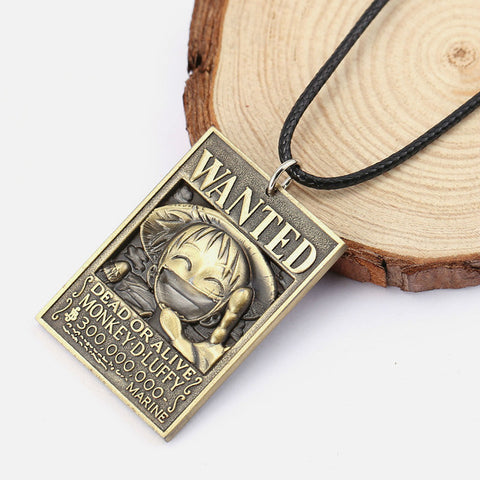 One Piece Wanted Monkey D. Luffy Bounty Pendant Necklace