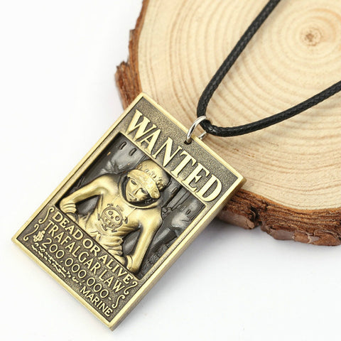 One Piece Wanted Trafalgar D. Water Law Bounty Pendant Necklace