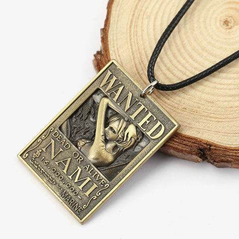 One Piece Wanted Nami Bounty Pendant Necklace