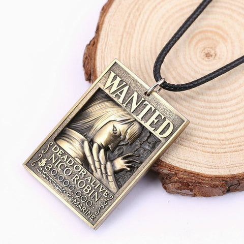 One Piece Wanted Nico Robin Bounty Pendant Necklace