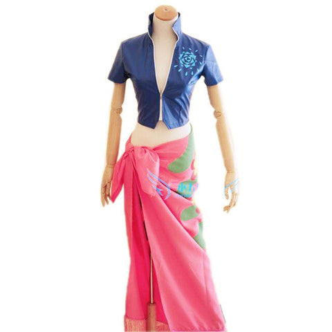 One Piece Nico Robin Blue Top Pink Skirt Cosplay Costume