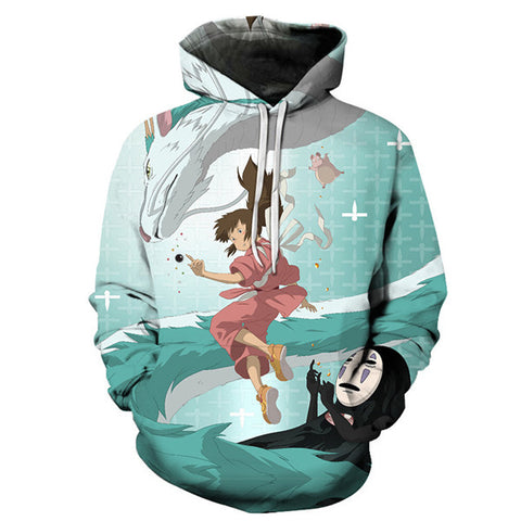 Spirited Away Chihiro Haku & No Face United Hoodie