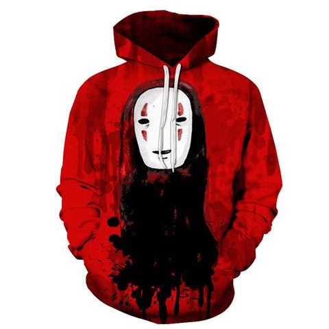 Studio Ghibli Spirited Away No Face Red Hoodie