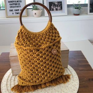 'Market Days' Mustard Handbag-Handbags- Slow Yarn Macrame Handmade Brisbane