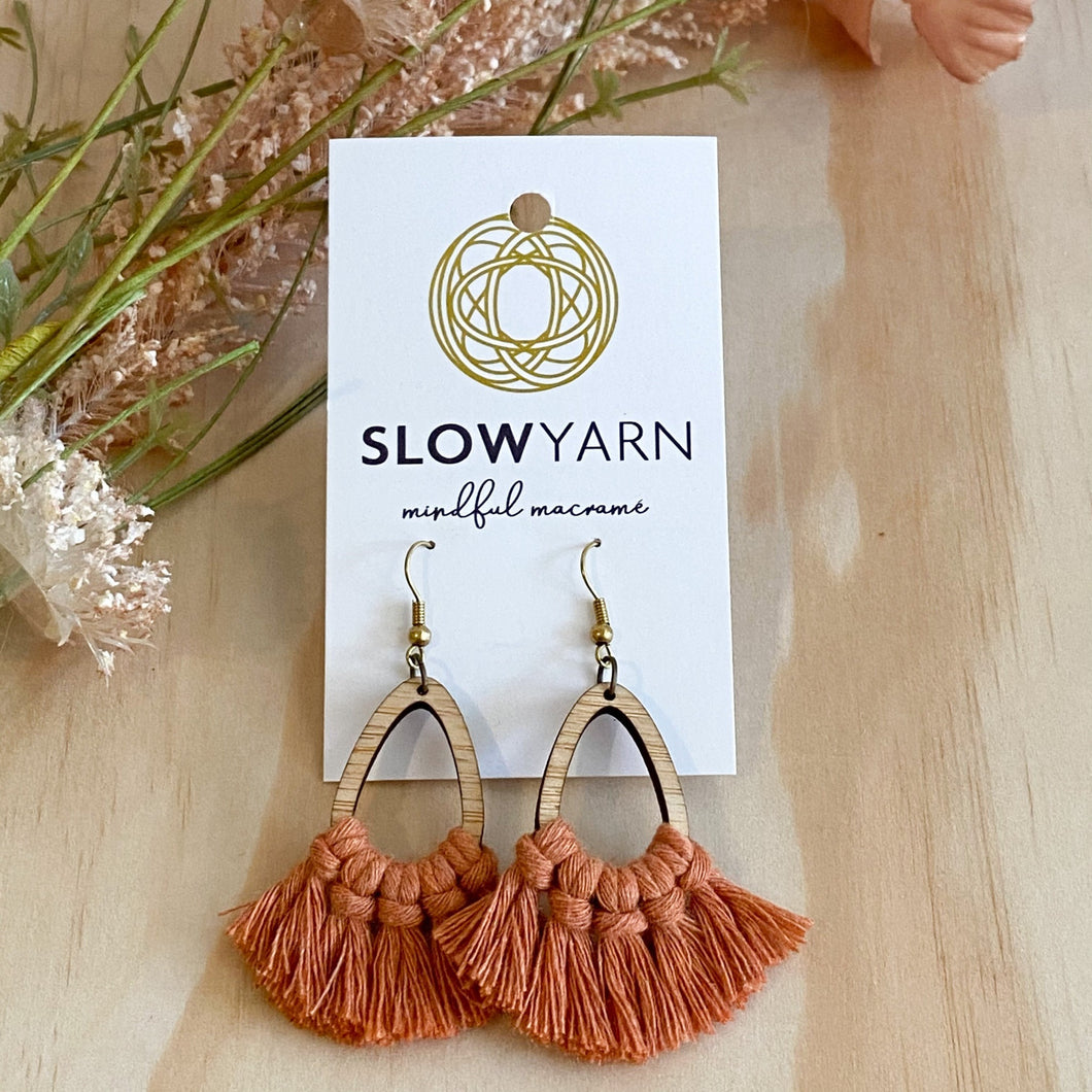 Bamboo macrame earrings terracotta